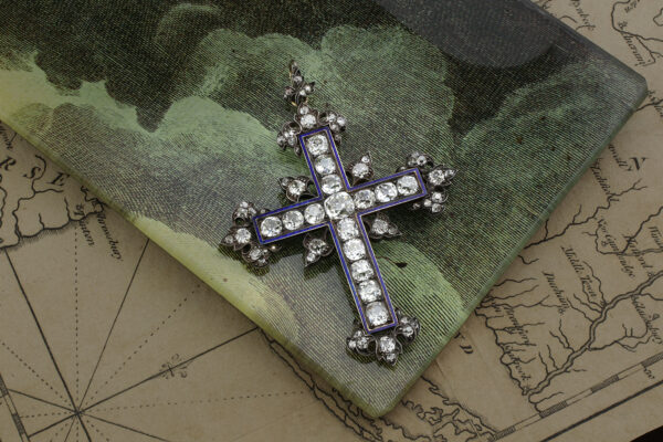 Antique Diamond And Enamel Cross Pendant