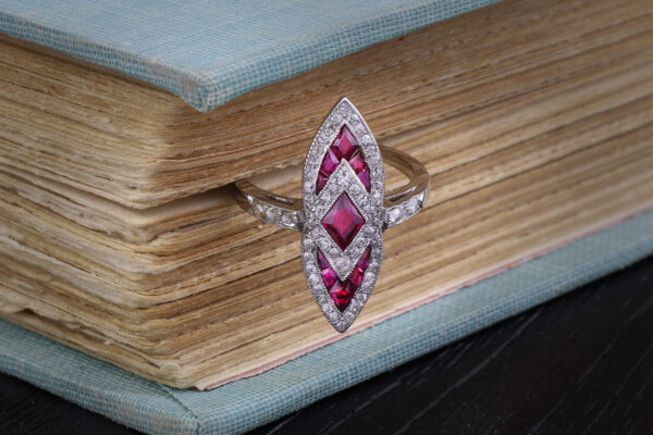 Art Deco Ruby And Diamond Plaque Ring