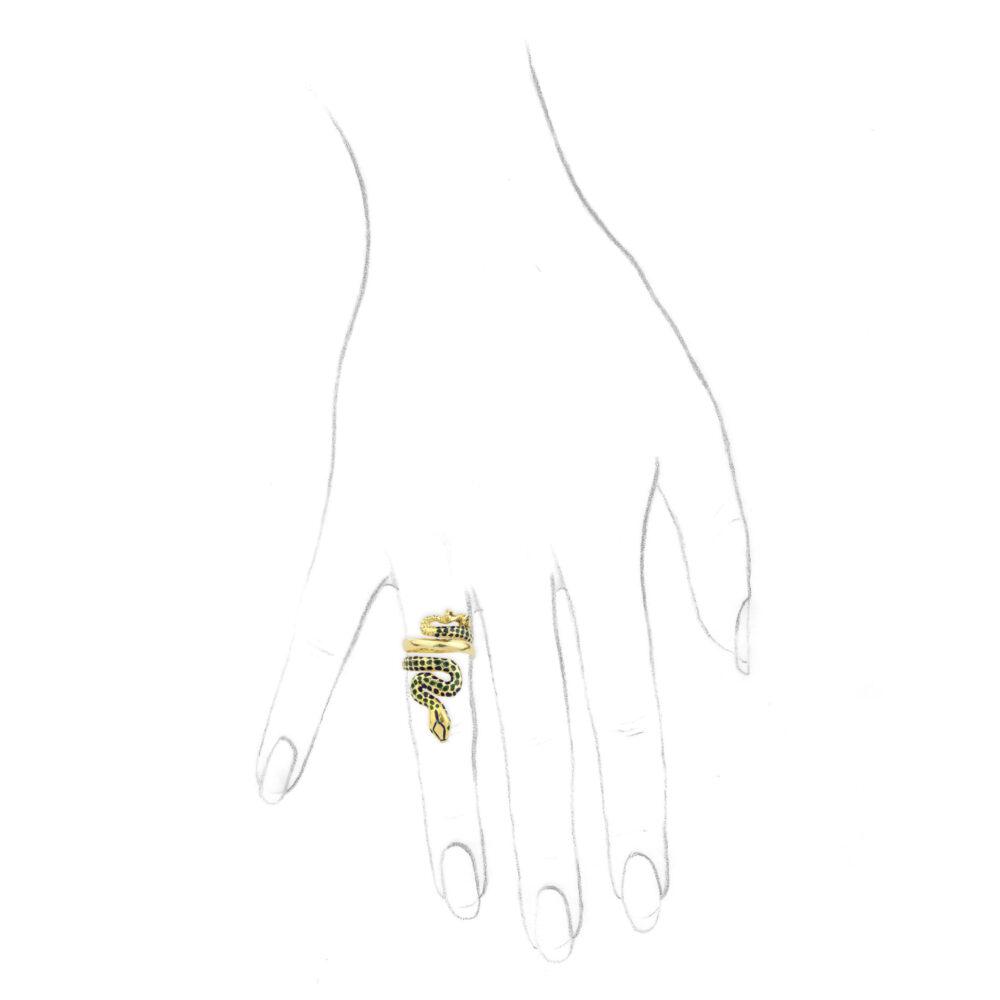 Enamel and Gold Snake Ring