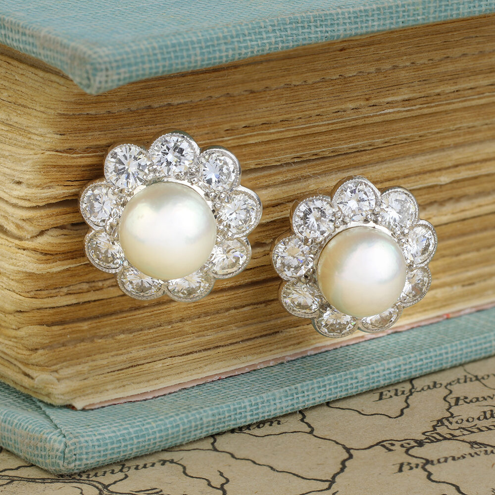 Natural Pearls and Diamond Earrings