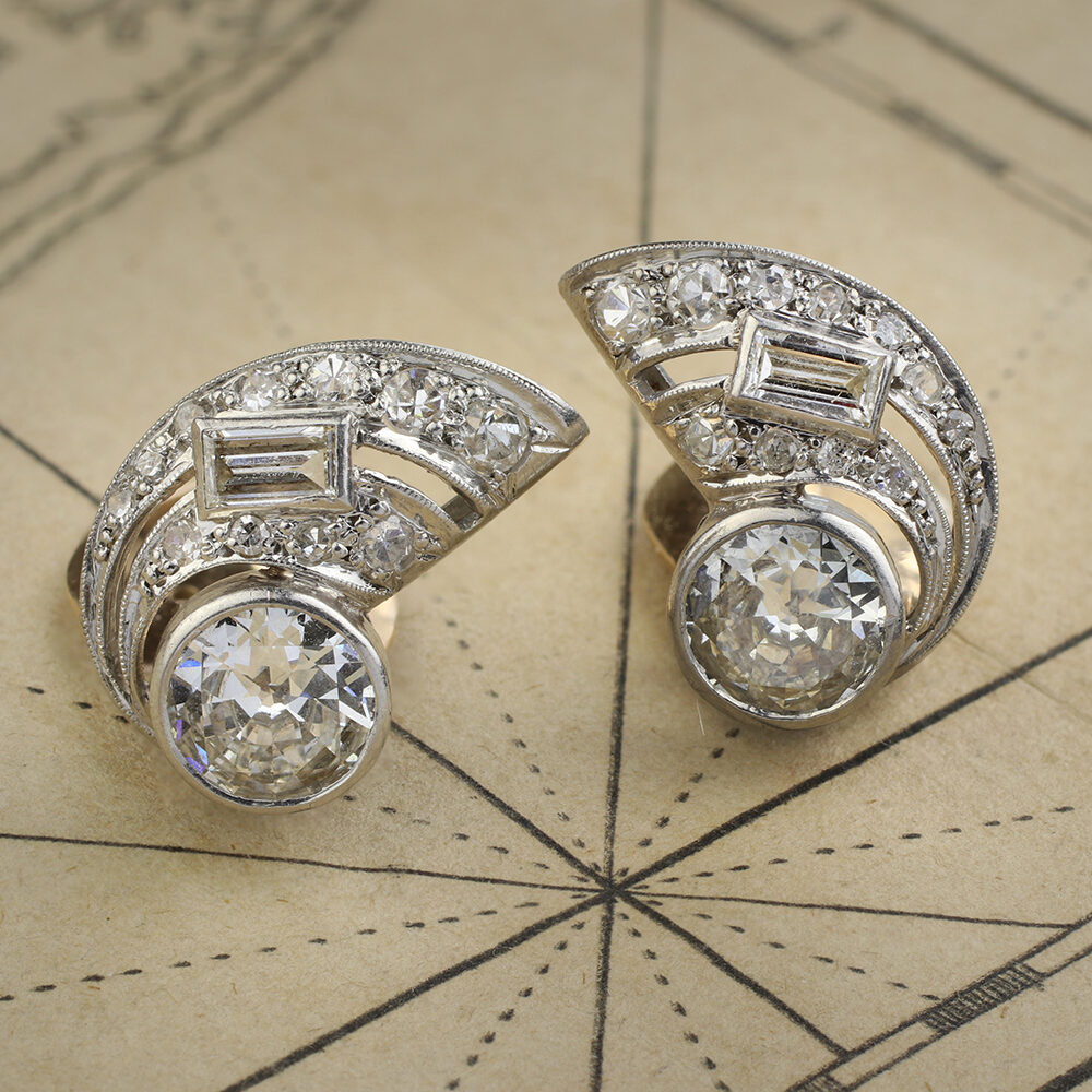 Diamond Set Ear Clips