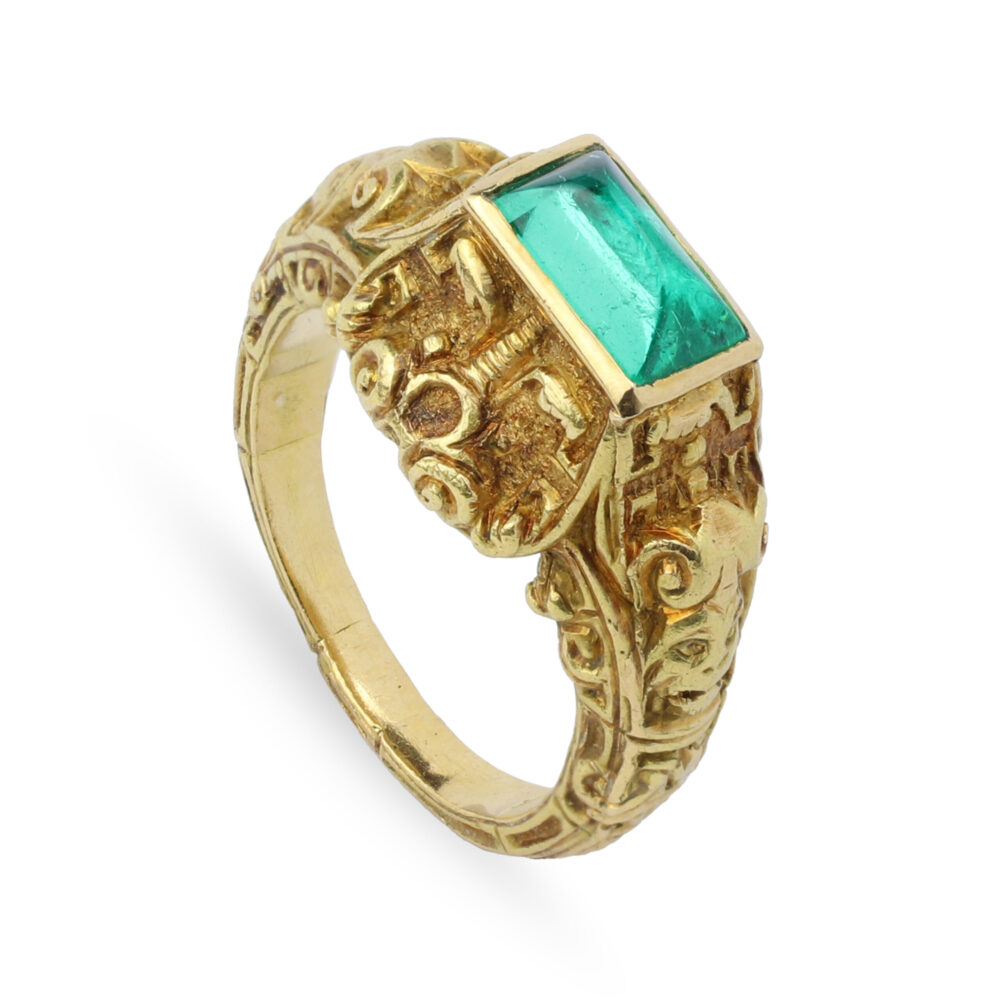 Gothic Revival Emerald and Gold Ring