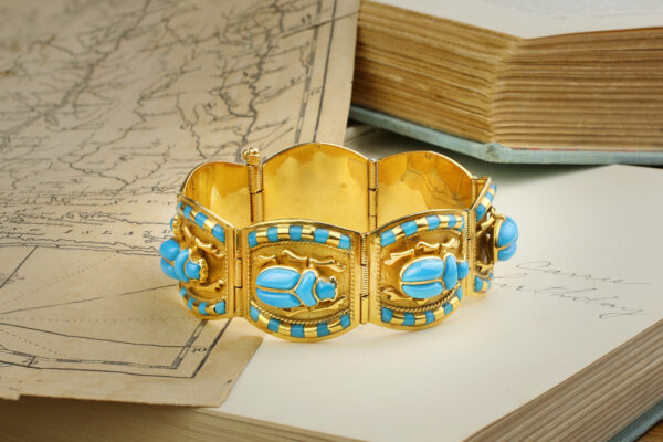 Egyptian Revival Glass And Gold Bracelet