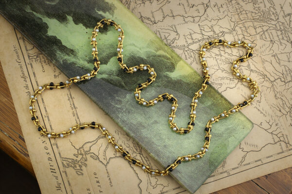 Bulgari Onyx, Pearl And Gold Necklace