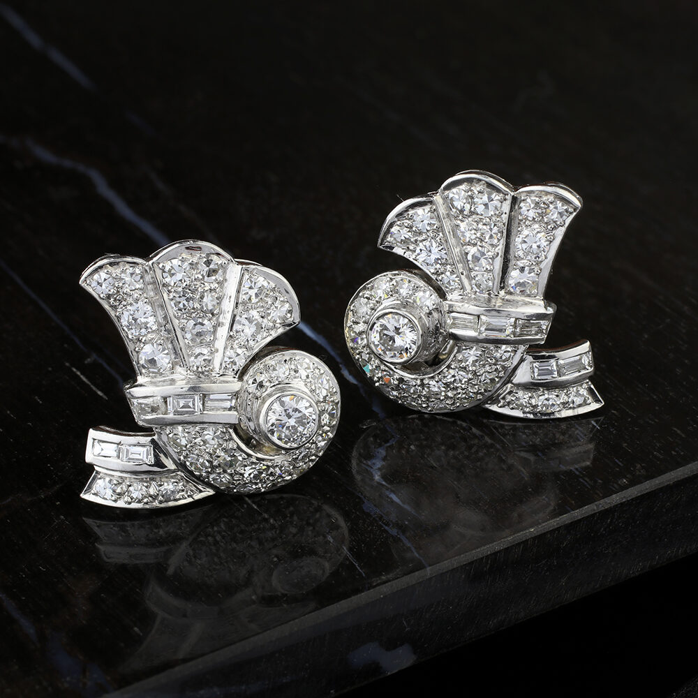 Cartier Diamond and Platinum Ear Clips