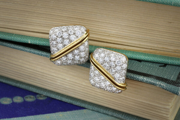 Diamond Set Platinum And Gold Ear Clips