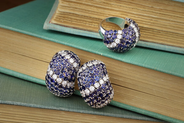Van Cleef & Arpels Sapphire And Diamond Earrings And Ring Set