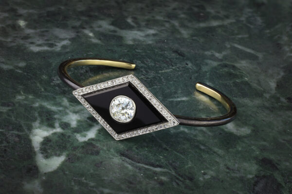 Diamond And Onyx Bangle Bracelet