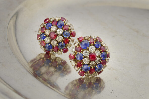 Bulgari Sapphire, Ruby And Diamond Ear Clips