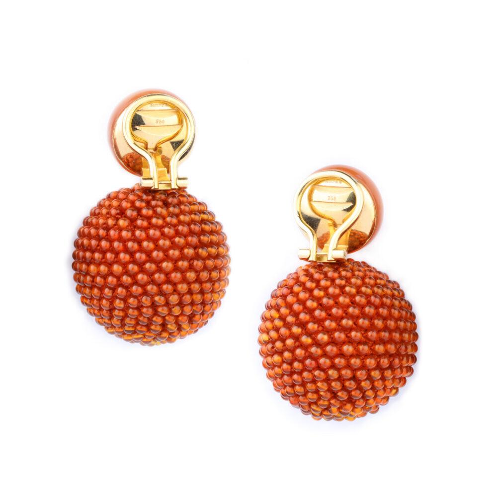 Hemmerle Moonstone and Carnelian Beads Ear Clips