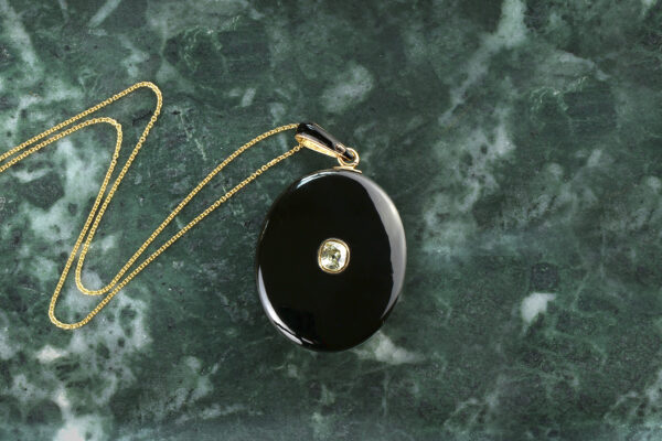 Antique Onyx, Diamond And Gold Locket Pendant