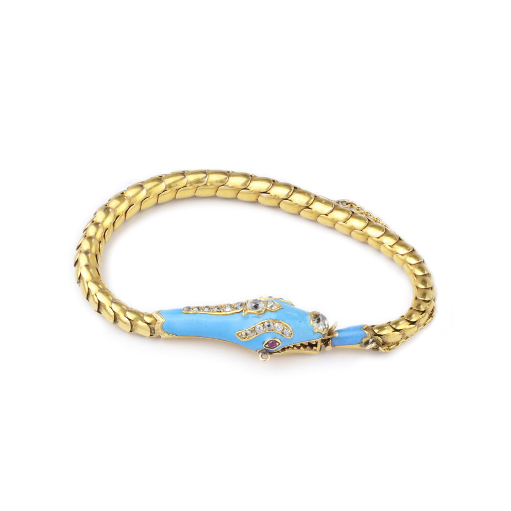 An Antique Enamel, Diamond and Gold Snake Bracelet