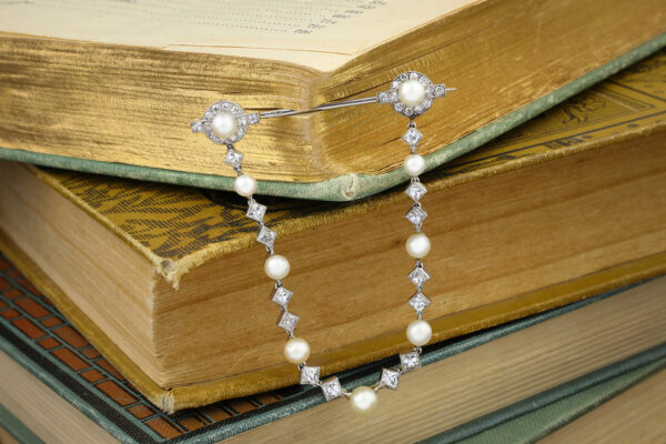 Pearl And Diamond Jabot Pin
