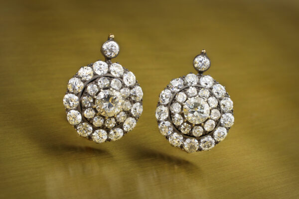 Diamond Set Silver And Gold Ear Pendants