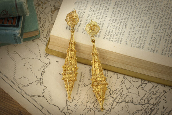 Antique Gold Cannetille Ear Pendants