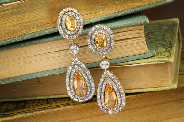 Antique Topaz And Diamond Ear Pendants