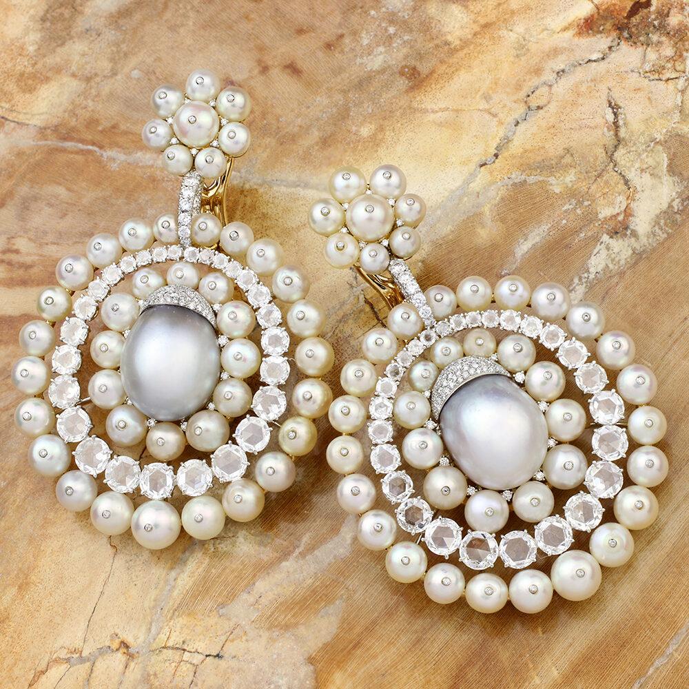 SABBA Natural Pearl and Diamond Ear Pendants