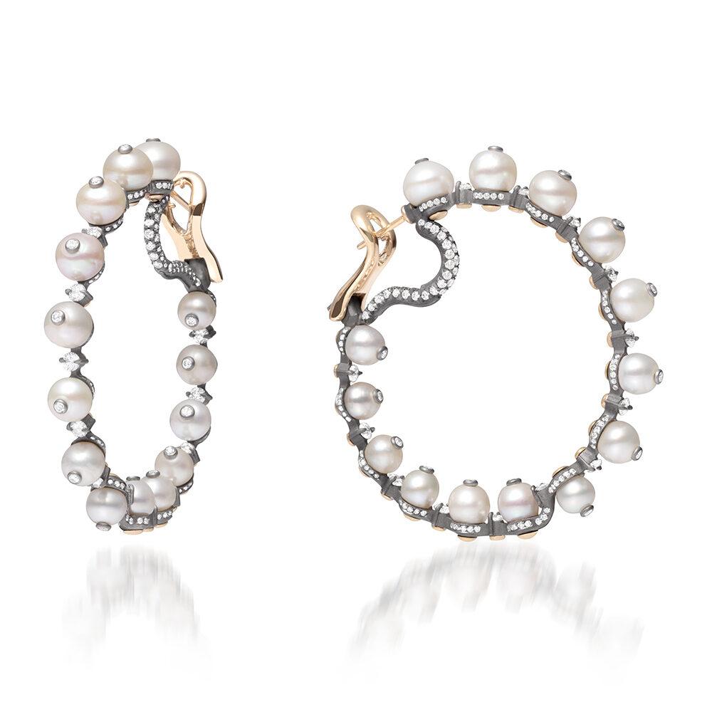 Natural Pearl and Diamond Hoop Earrings