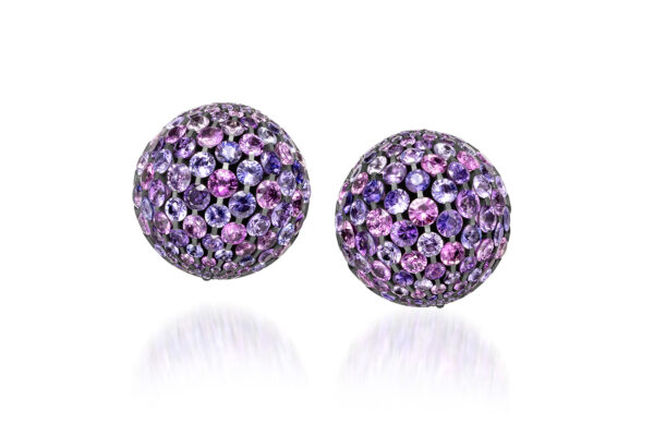 Violet Sapphire Dome Ear Clips» Price On Request «