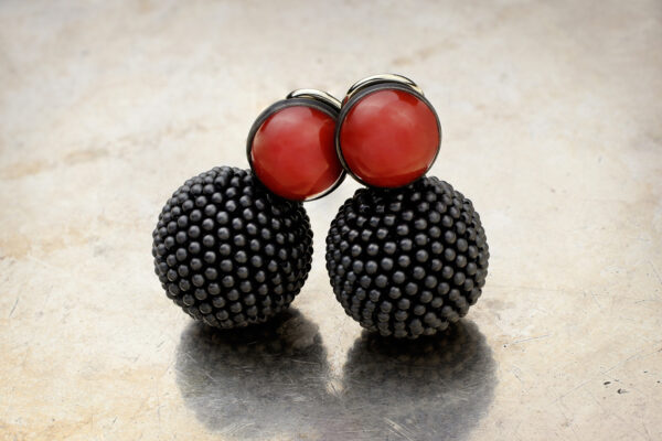 Hemmerle Coral And Iron Bead Ear Clips