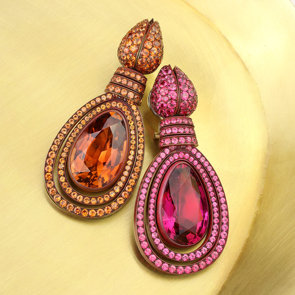 Hemmerle Tourmaline, Orange Sapphire and Spinel Ear Pendants