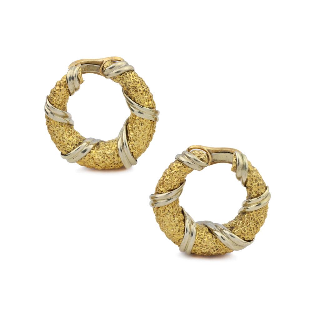 Van Cleef & Arpels Two-Tone Gold Hoop Ear Clips
