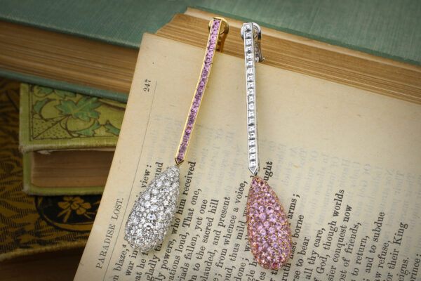 Chopard Diamond And Pink Sapphire Ear Pendants