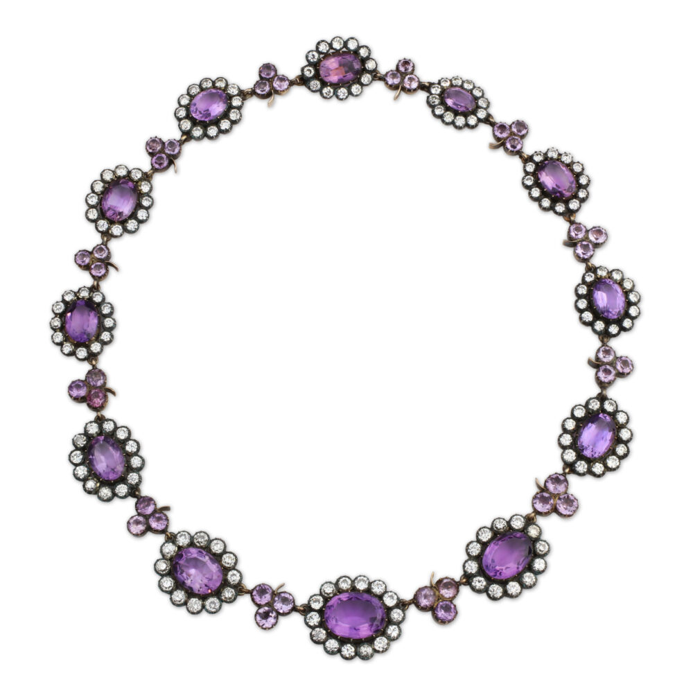 Antique Amethyst and Diamond Necklace