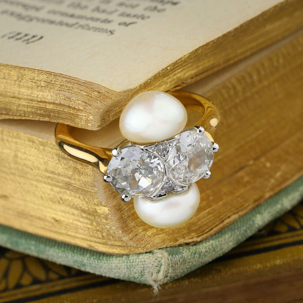 Natural Pearl and Diamond Ring