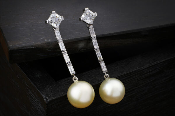 Diamond And South Sea Pearl Ear Pendants