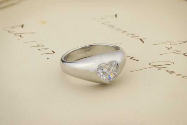 Hemmerle Platinum And Heart Shaped Diamond Ring