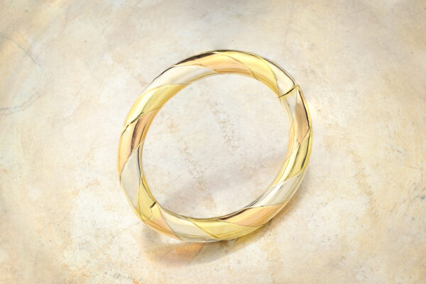 Tri-color Gold Bangle Bracelet