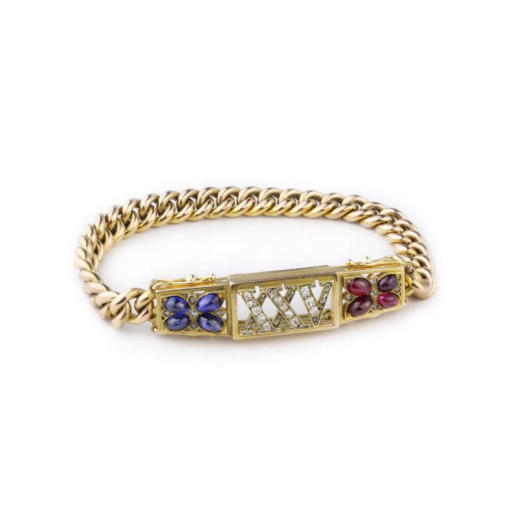 An Antique Sapphire, Ruby and Diamond Bracelet