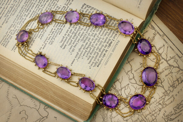 Antique Gold And Amethyst Swag Necklace