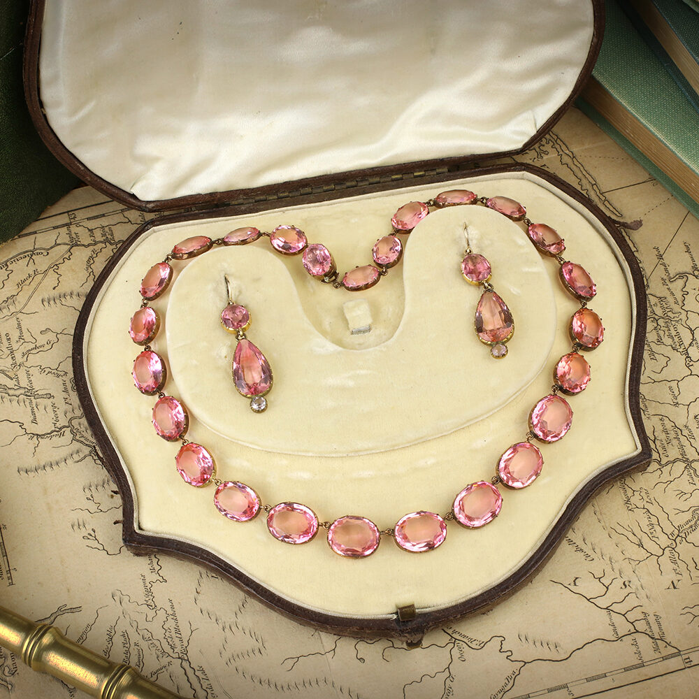 Antique Set of Pink Paste Jewelry