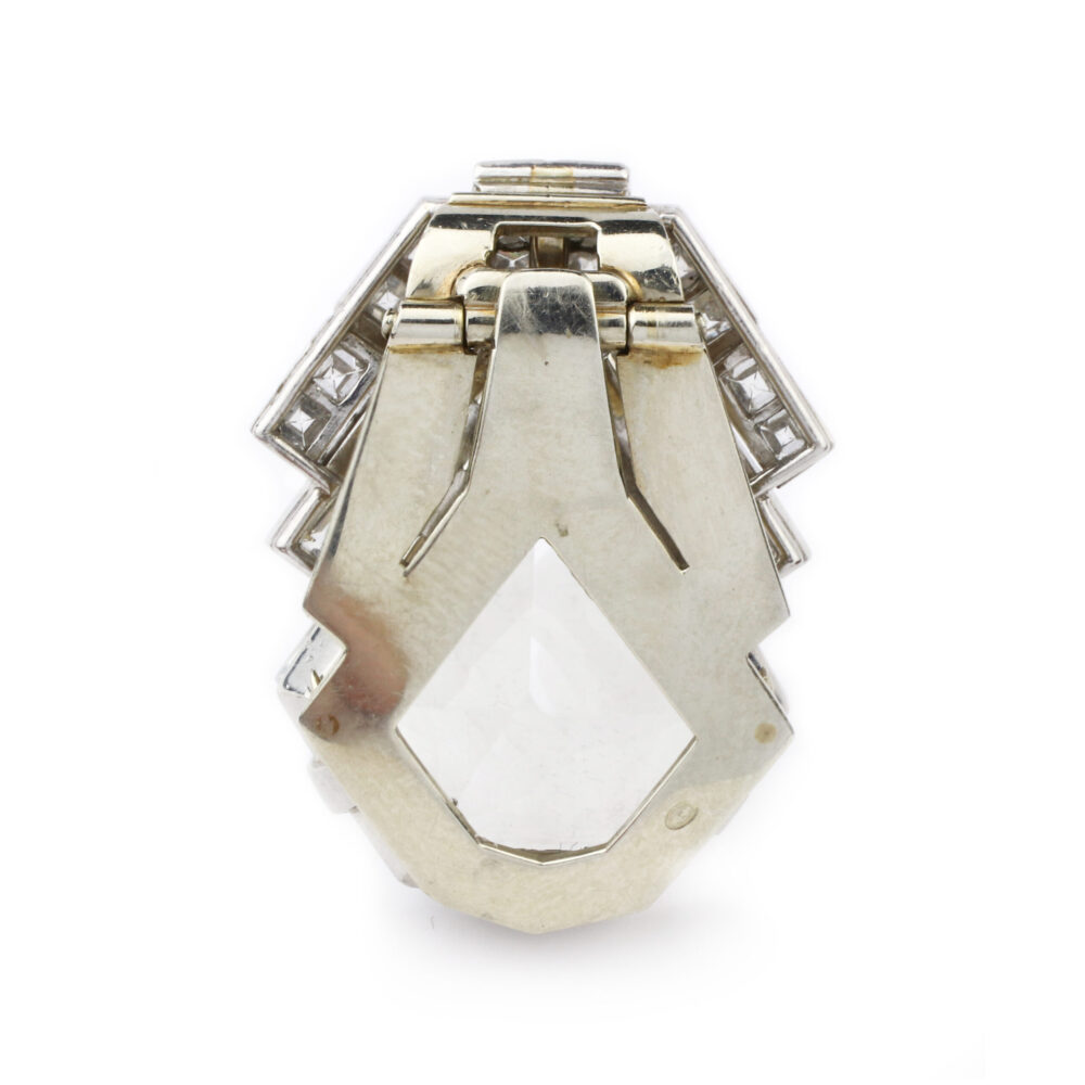 Art Deco Rock Crystal and Diamond Dress Clip