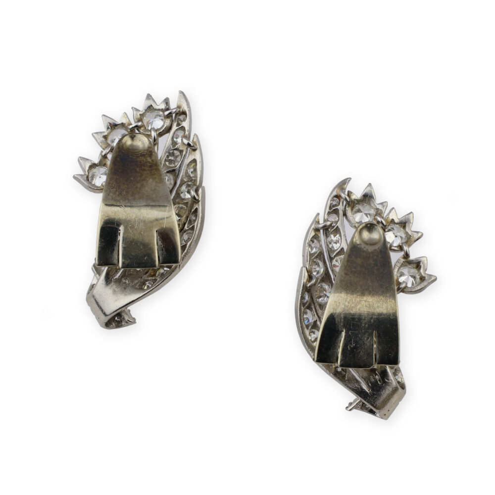 Diamond and Platinum Ear Clips