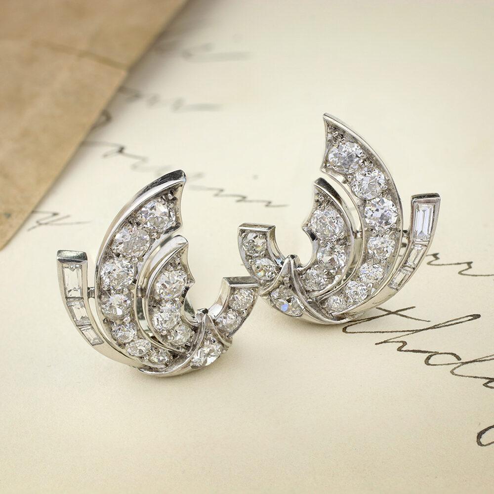 Diamond and Platinum Ear Clips