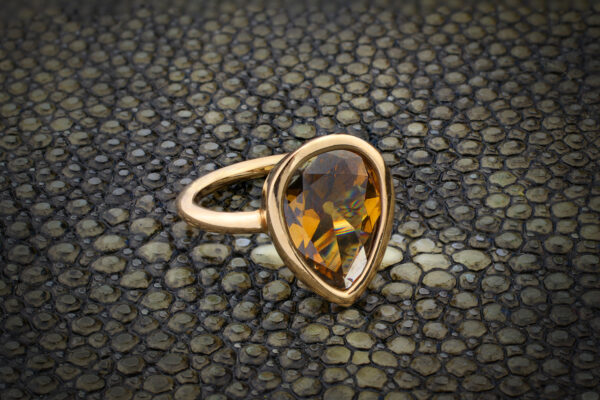 Brown Pear Shaped Diamond Ring