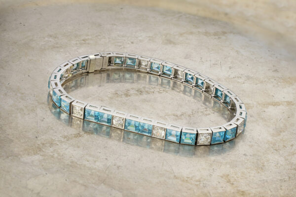 Aquamarine And Diamond Line Bracelet