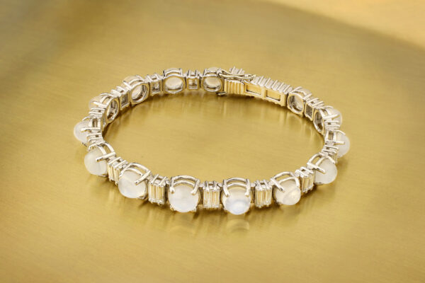 Moonstone And Diamond Line Bracelet