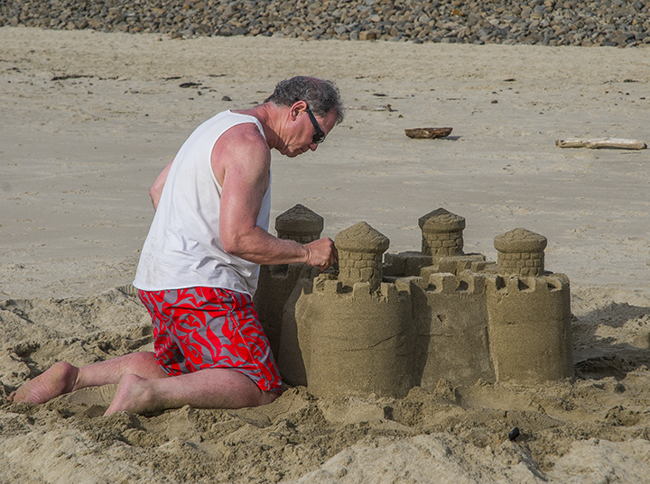 At Cape Outlook State Park we got to see this man building a sandcastle.
