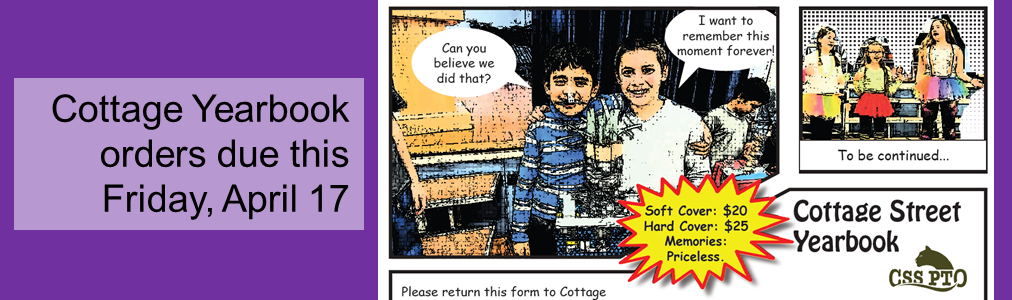 Cottage Yearbook orders due this Friday, April 17