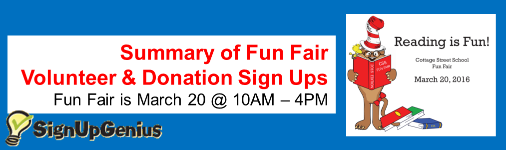 Fun Fair Sign Ups Summary