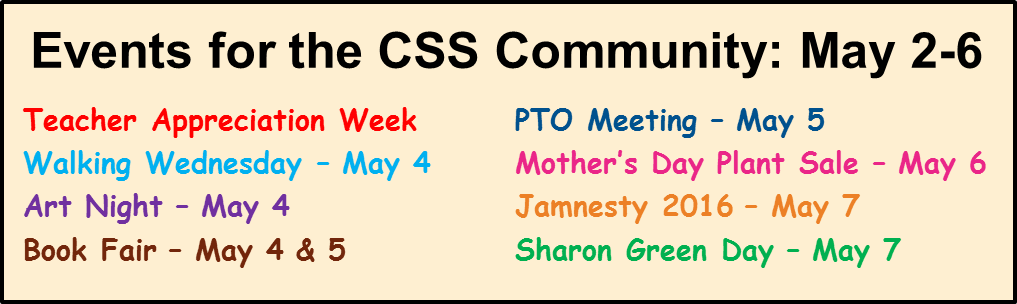 Events for the CSS Community: May 2-6