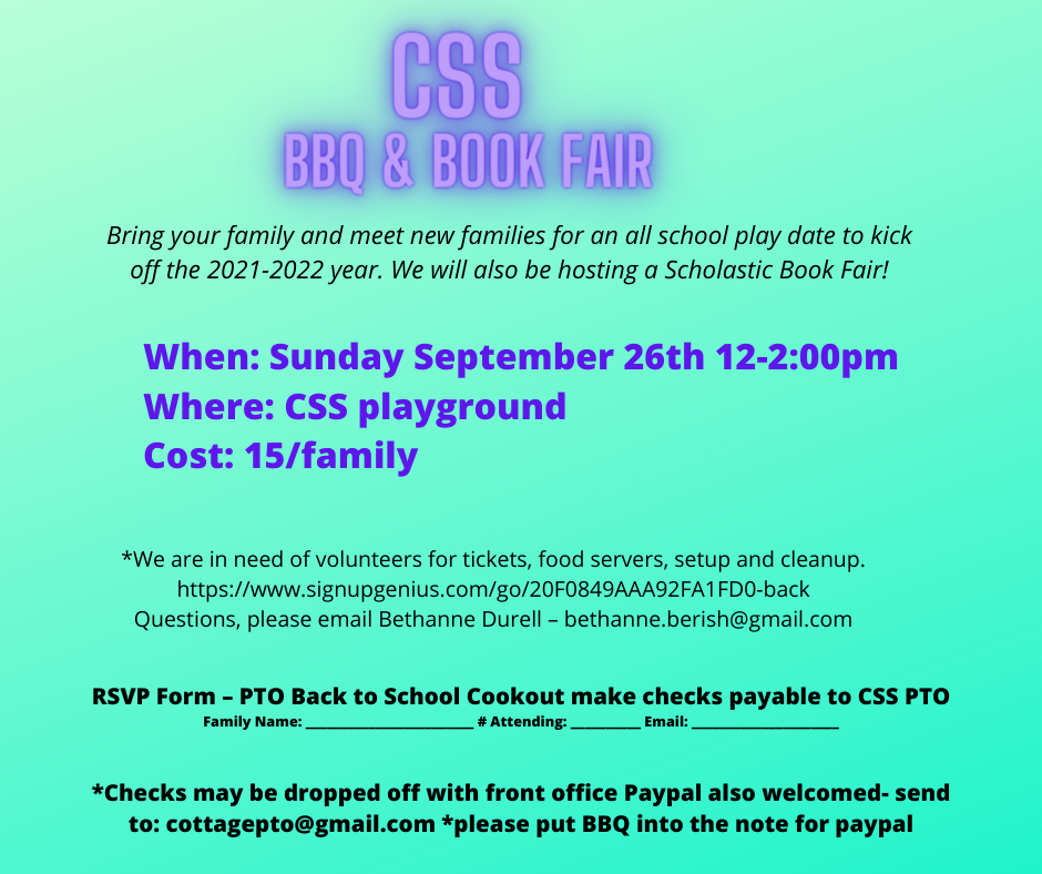 CSS – Back to School BBQ & Book Fair