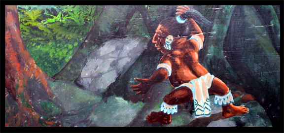 A detail from a mural at Casa Denis in Cozumel showing an Alux spying on a Maya procession from the jungle. (staff photo)