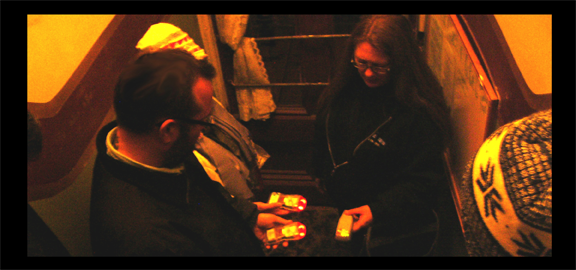 Multiple EMF detectors respond to anomalies at the entrance of the Silver Queen during a ghost tour with Bats in the Belfry. (staff photo)