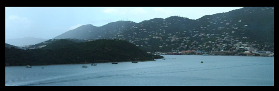The  harbor at Charlotte Amalie with Hassel Island in the foreground, where the La Trompeuse may have been anchored. (staff photo)