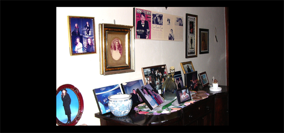 """Memory wall"" at the Johnny Cash house in Jamaica. (staff photo)"